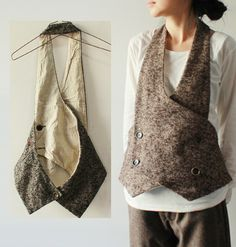 idea for upcycling menswear wool jacket and making simple vest