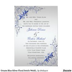 Ornate Blue Silver Floral Swirls Weddings