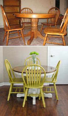 Woodworking 67 Furniture Makeovers That'll Totally Inspire You: Dining set makeover via Happiness is Creating - All the furniture makeovers to get you inspired - from thrift store finds to roadside rescues, look no further for refinishing inspiration. Diy Furniture Easy, Refurbished Furniture, Repurposed Furniture, Cheap Furniture, Dining Furniture, Rustic Furniture, Furniture Making, Furniture Makeover, Painted Furniture