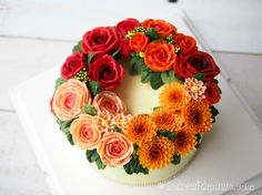 Korean Style Buttercream Flowers Cake - 20 - Bake With Paws