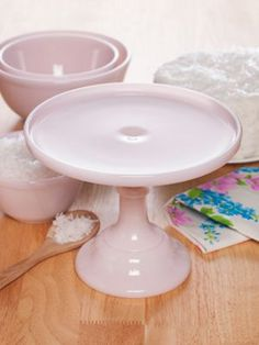 Collectible Pink Milk Glass Cake Stand and Bowls By Mosser