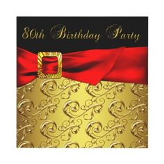Red Gold Black Damask Womans 80th Birthday Party Invitation