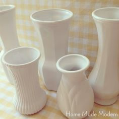 Home Made Modern: Faux Milk Glass- just spray paint inside and out