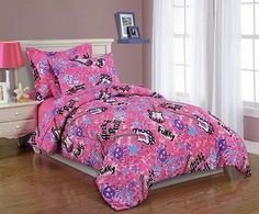 NEW-2pc Girls Kids Bedding- TWIN Comforter Set- Pink Rock and Roll