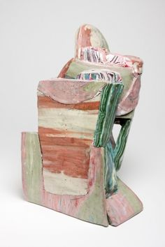 """Hilary Harnischfeger, """"Untitled,"""" 2011, porcelain, pigment, paper, dye, crushed glass, plaster, pyrite Rachel Uffner Gallery NYC"""