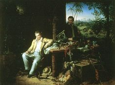 Humboldt and Bonpland in the Amazon rainforest by the Casiquiare River, with their scientific instruments, which enabled them to take many types of accurate measurements throughout their five-year journey. Oil painting by Eduard Ender, 1856.