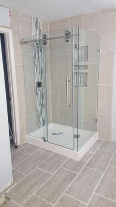 Vigo Winslow in. x 74 in. Frameless Bypass Shower Enclosure in Stainless Steel with Clear Glass at The Home Depot - Mobile Tub Shower Doors, Master Bathroom Shower, Frameless Shower Doors, Relaxing Bathroom, Bathroom Design Small, Bathroom Layout, Bathroom Interior, Bathroom Ideas, Bathtub Remodel