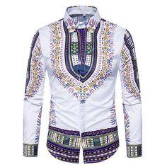 Printed Shirts Fashion Mens Shirts Long Chemise Homme Casual Camiseta Masculina Hip Hop Dress ShirtAsian Size 318 purple M Dashiki Shirt, Mens Luxury Shirts, Hip Hop Dress, African Men Fashion, Mens Fashion, Fashion Shirts, Cheap Fashion, Fashion Clothes, Gentleman Style