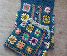 grannysquare baby vest and skirt Crochet Baby Cardigan, Baby Girl Crochet, Crochet Baby Clothes, Crochet For Kids, Knit Crochet, Baby Knitting Patterns, Crochet Patterns, Granny Square, Crochet Sunflower