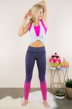 """Just when you think that you don't have anything left to give, you are sure to get """"One More Rep"""" in and do your personal best!! And just when you thought your workout apparel couldn't get any better, this """"One"""" pair of leggings show up to give you more bang for your buck!! Ombre leggings with a thick waistband. Model is wearing a S/M. • 88% Nylon, 12% Spandex • Hand Wash Cold • Unlined FIT: True to size LENGTH: Ankle length. Size S/M measures 35"""", L/X measures 35"""" WAIST: Stretchy fabric…"""