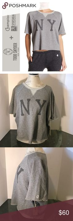 Champion/Todd Snyder NY Graphic Cutoff Sweatshirt - Crew neck - Short raglan sleeves - Graphic print - Unfinished hem - Imported Fiber Content 100% cotton Machine wash  Fit: this style fits true to size. NWT/🚫Trades please   Item#9121081-2 Champion Tops Sweatshirts & Hoodies