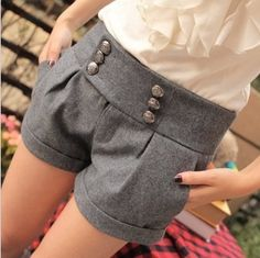XXL Double Breasted Woolen Shorts Autumn Winter Fashion Women Elegant Turn-Up Straight Boot Cut Casual Short Pants Free Shipping