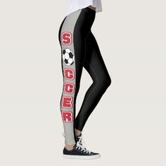 #stripes - #Black and Gray Stripe with Red Soccer Leggings