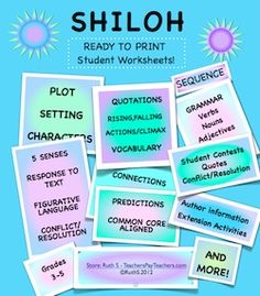 This 54 page packet of ready to print worksheets for Shiloh save teachers time! priced item