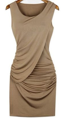 Pleated Collarless Stretch Fabric Dress