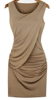 Pleated Collarless Stretch Fabric Dress