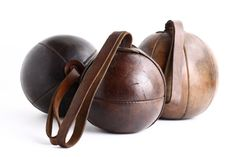 Antique Leather Punch Boxing Ball with Strap - Vintage Sporting Prop