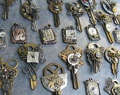 Altered keys! Clock parts, jewelry findings, and vintage keys form detailed ornaments - wouldn't one of these make a charming housewarming gift?