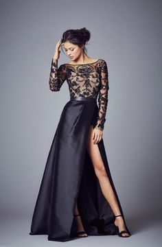 "Black lace and Satin ""Savannah"" Evening Wear from the Suzanne Neville Collection 2017 Long Dress Design, Ladies Dress Design, Dress Designs, Prom Gowns, Party Dresses, Ball Gowns, Prom Dress, Collection 2017, Bridal Collection"