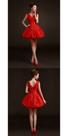 Short/Mini Tulle Bridesmaid Dress - Ruby / Burgundy A-line V-neck #shortbridesmaiddress