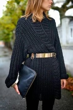 Gold belting oversized sweater