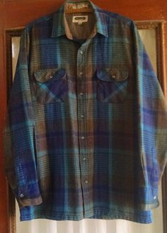 Vtg Arrow Shelter Bay Mens Shirt L Tall Blue Tan Plaid Wool Blend Hunting Lumber #Arrow #ButtonFront #Casual