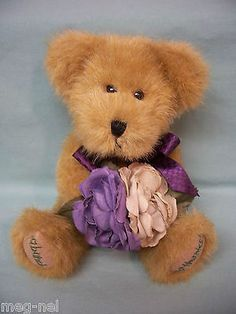 Boyds Bear Plush Flora Thanksabunch Thank You with Purple Roses New