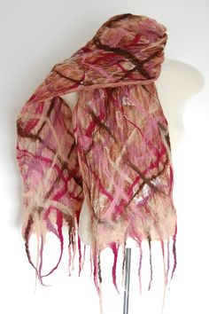 Unique Handmade Scarf Nuno Felted Scarf by LocallySewnTextiles