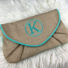 K clutch initial burlap Aqua blue crossbody Adjustable straps to be a clutch or crossbody. Burlap with vegan leather accents. Ships immediately Bags Crossbody Bags