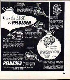1960-Print-Ad-Pflueger-Fishing-Reels-Freespeed-Jupiter-Galaxie-Supreme-Freeflite