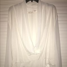NWOT Eva Mendes Sheer White Blouse Bodysuit New never been worn Beautiful Bodysuit! Size XL Eva Mendes Tops
