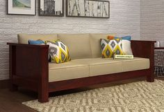 Shop Agnes 3 Seater Wooden Sofa online in Mahogany Finish. The decent style of wooden three seater sofa is truly amazing. It provides nice look to the living area and is very comfortable. Get #3SeaterSofa Online in #NaviMumbai #Goa #Pune