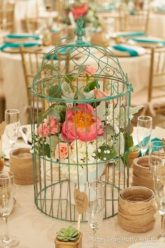 Rustic chic wedding using gold, teal and burlap from Prime Time Party Rental. Love the birdcage centerpieces.  #dayton #cincinnati #weddings #rustic