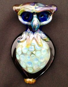 Hand Blown Glass Owl Pipe with Honeycomb by BoGlass on Etsy