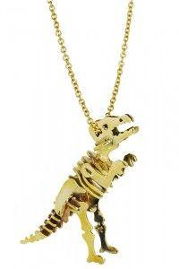 Monserat De Lucca – Brass T-Rex Skeleton Necklace In Gold
