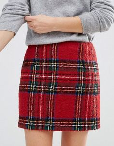 LOVE the sweatshirt and plaid skirt look...I'm going to replicate this.