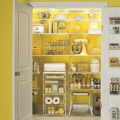 Used this as inspiration to redo our pantry!!  My pantry is half this size, but I would love for it to look this good!!! #ELFA #TheContainerStore