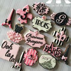 Parisian Princess themed #cookies for Grayson's 3rd Birthday!!!  #decoratedcookies #decoratedsugarcookies #decoratedcustomcookies #customsweets #customcookies #customdecoratedcookies #cookielove #cookieart #edibleart #sugarart #parisian #paris #eiffeltower