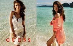Model Natasha Barnard (IMG) features as summer bronzed beach goddess in the new GUESS Summer 2013 campaign. Photographed by Yu Tsai. Jackie Collins, Line Branding, Summer Campaign, Fashion Advertising, Summer Essentials, Sheer Dress, American Apparel, Fashion Photography, Cover Up