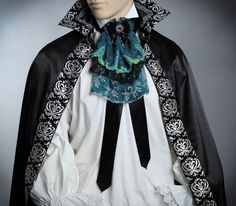 Black Jabot, Peacock Jabot,Lace Jabot, 18th Century Jabot,18th Century Men's Costume, Men's Shirt, Rococo Men's Costume, Historical Costume. by TheOnlyOneInTheWorld on Etsy https://www.etsy.com/listing/482041571/black-jabot-peacock-jabotlace-jabot-18th