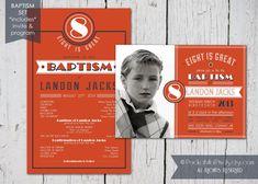 Love these coordinating invitations and programs - Custom Printable LDS Baptism Invitation and by PocketFullofPixels, $25.00