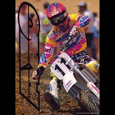 「Damon Bradshaw looking badass in his AXO Mission Control gear at the 1991 High Point National. by Fran Kuhn #TheBeastFromTheEast #Motocross #Supercross…」