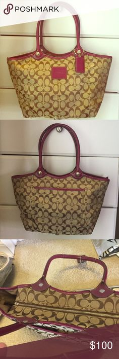 COACH Magenta and tan. This is an awesome color. Bag is in great condition. Very little wear and tear.  Coach Bags Shoulder Bags