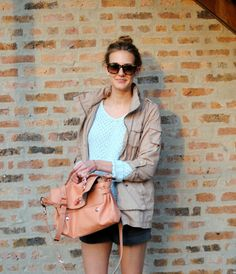 beige army jacket, light blue aquamarine sweater, black shorts, orange rain boots, and peach bag - love for a spring/cool summer day outfit