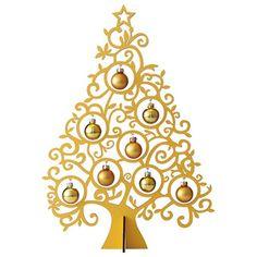 Christmas Tree  繊細なデザインのカットとガラスのオーナメントが美しいツリー。【高島屋限定】ケルンシャッツ クリスマスツリー ゴールド