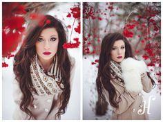 Michigan winter senior girl fuzzy mittens red berries snow <3