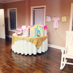 Baby Shower gift table and clothes line decor