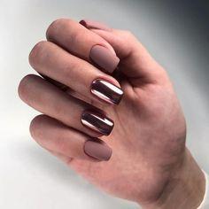 Stunning fashion metallic effect nail design idea - Page 21 of 68 - Inspiration Diary Stylish Nails, Trendy Nails, Summer Gel Nails, Basic Nails, Modern Nails, Nail Manicure, Ring Finger, Nail Tips, Nail Colors