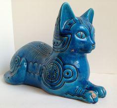 Vintage BITOSSI Rimini Blue Modern Italian Cat Sculpture MCM Raymor Mid Century