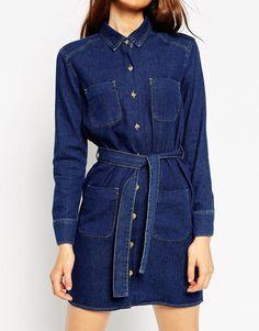 Image 3 - ASOS - Robe chemise en jean avec ceinture - Bleu délavé